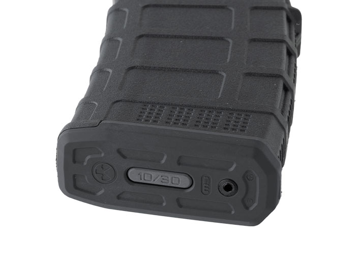 Magpul PMAG 10/30 AR/M4 with proprietary lock plate to reduce max capacity to 10-rounds in a 30-round size