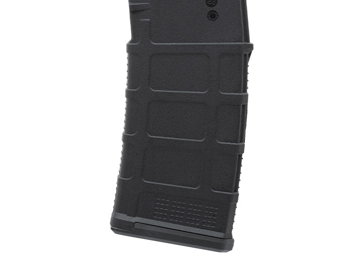 Side of Magpul PMAG 10/30 AR/M4 showing paint pen dot matrix and overtravel insertion stop