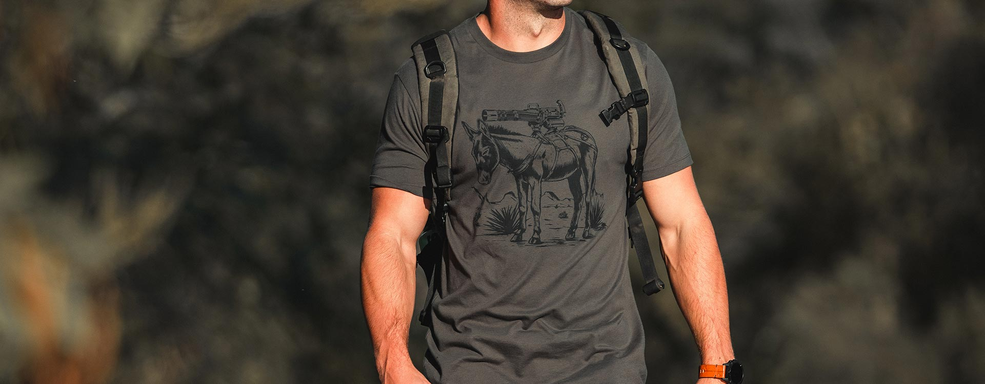Magpul Burro T-Shirt on a man hiking outdoors with a backpack