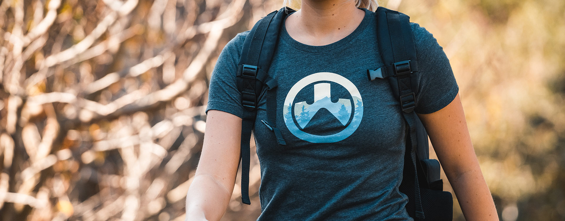 Magpul Women's Cascade Icon Logo CVC T-Shirt on women hiking with backpack outdoors