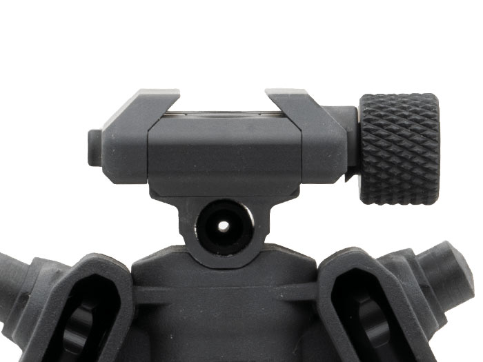 Front view of Magpul QR Rail Grabber mounted to Magpul 17s Bipod showing knurled knob and clamp design