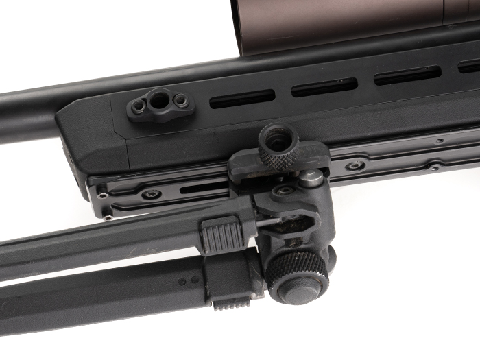 Magpul QR Rail Grabber and 17s Bipod mounted to ARCA Rail on Magpul Pro 700 Chassis