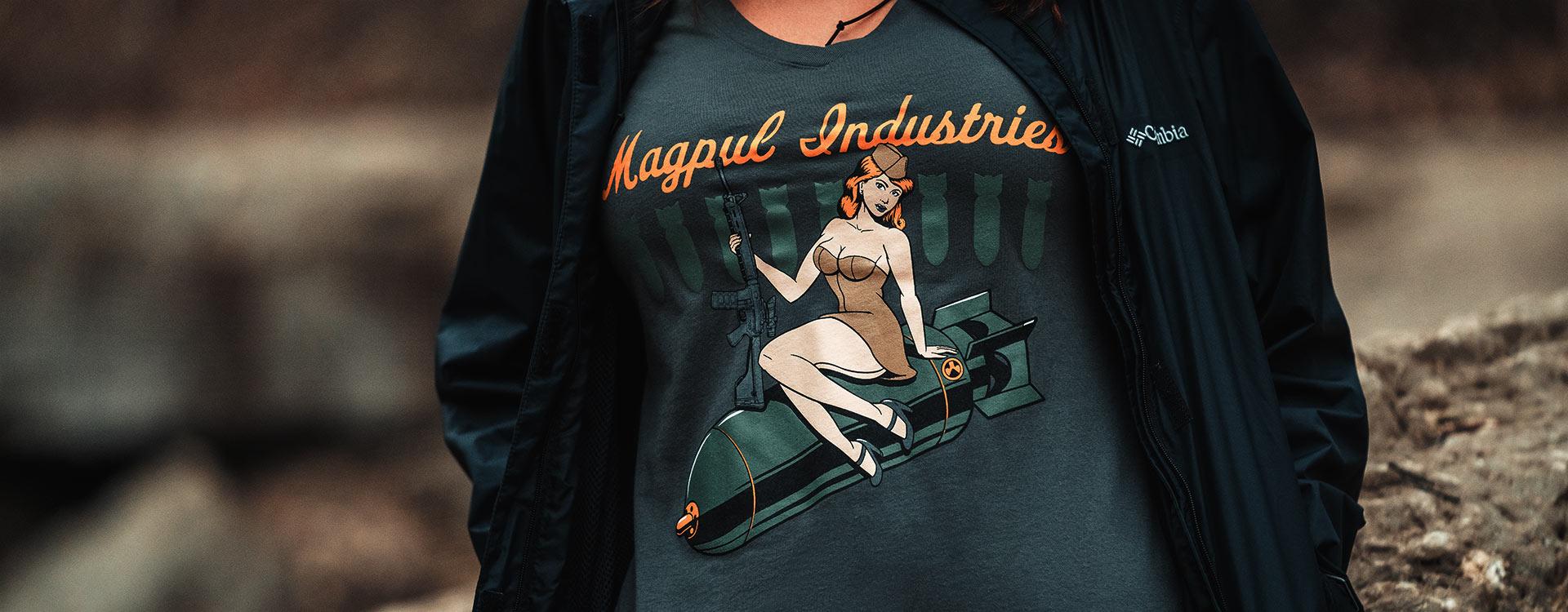 Magpul Women's Bombshell Cotton T-Shirt on woman outdoors wearing an unzipped jacket