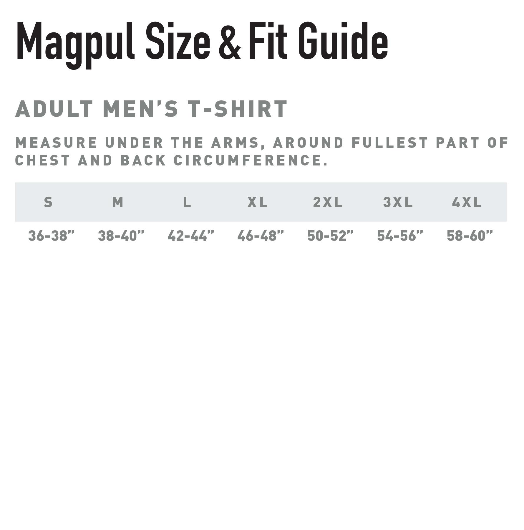 Magpul Mens T-shirt size chart