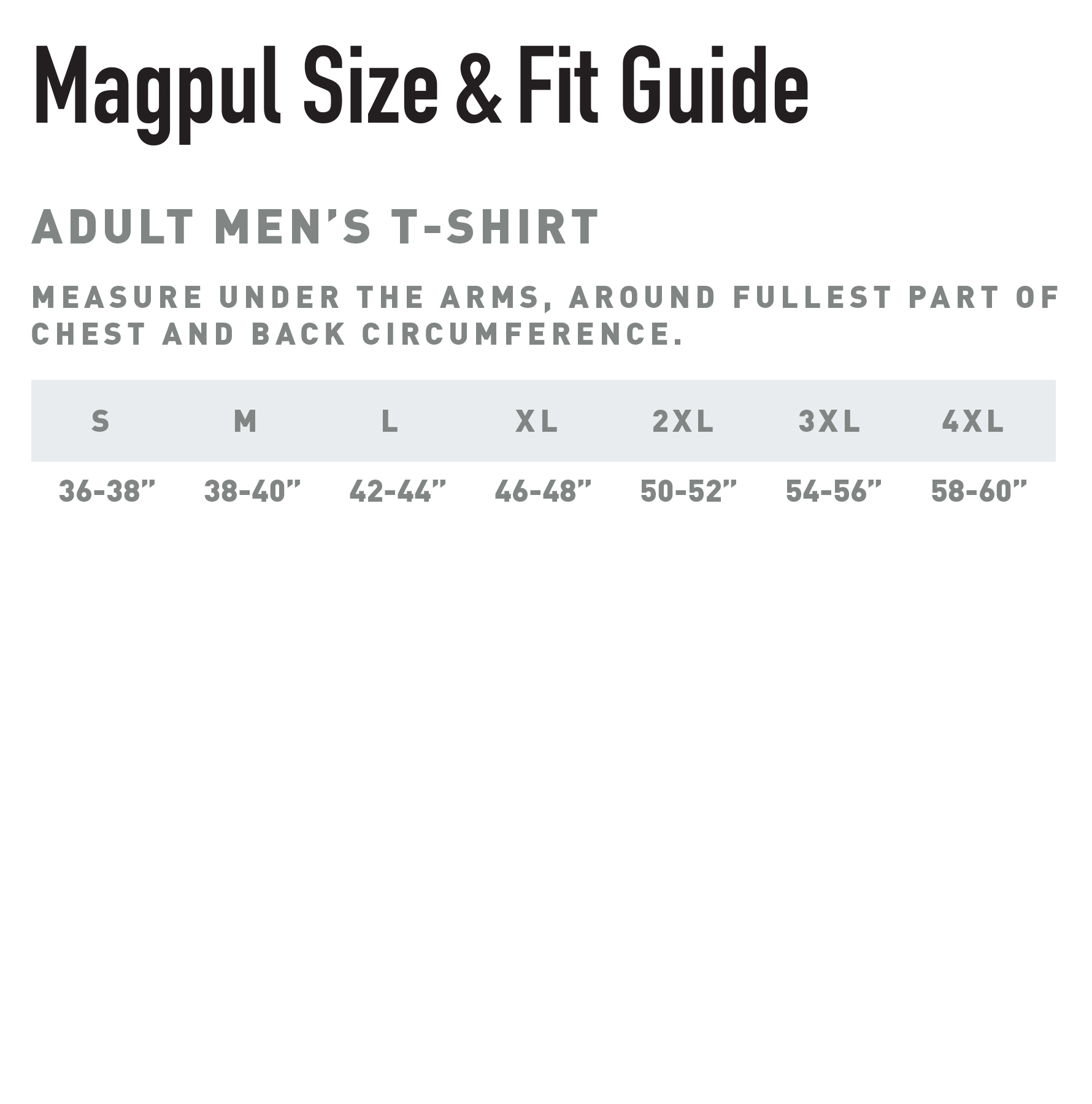Size chart for Men's Tees