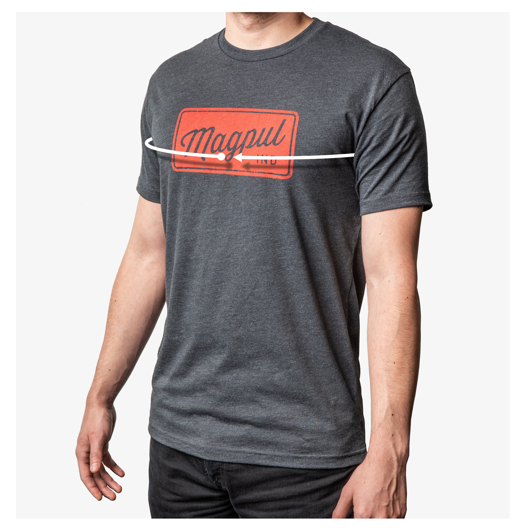 Man wearing Magpul T-Shirt with line showing where to meaure chest size