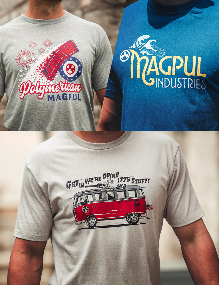 Magpul Polymerican, Hang 30, and Freedom Bus T-Shirts